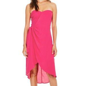ASTR Josefina Midi Dress Sweetheart Hot Pink Punch